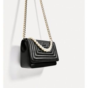 Zara quilted leather crossbody clutch black pearl